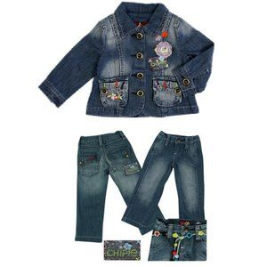 NWT French Designer Chipie Jeans Jacket & Pants 10